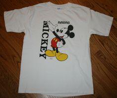 Mickey Mouse Hawaii Disney T-Shirt Men's Large Velva Sheen white vintage #VelvaSheen #GraphicTee
