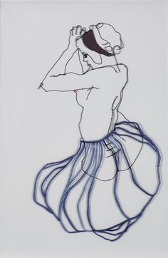 Woman with Dress Sculptural Drawing in Metal Wire and paper The dress is painted on glass, placed infront of fig. Artsit: Christina James Nielsen Based on 'Woman with blue Headband' By Egon Schiele