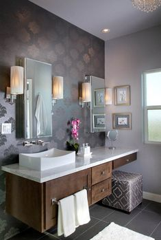 Soft Purple Bathroom Design Ideas - love the pattern/color on the wall and the dark brown cabinetry