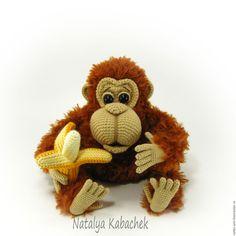 Купить Орангуташа ( вязаная игрушка) - коричневый, вязаная игрушка, вязаная обезьянка, вязаная обезьяна