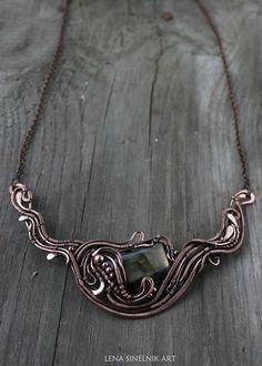 Labradorite pendant Copper pendant Christmas by LenaSinelnikArt