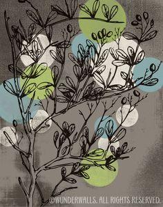 Flower Mod Sky Blue Lime Green Cream on Warm Gray by WunderWalls