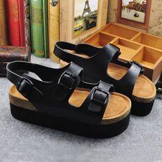 2016 estilo Romano Zapatos De Cuñas de corcho sandalias de Punta Abierta Casuales Zapatos de Verano de Moda Hebilla plataforma femme Zapatos de Suela Gruesa en Sandalias de las mujeres de Zapatos en AliExpress.com | Alibaba Group