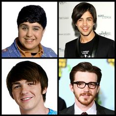 On the left side are Josh Peck and Drake Bell from their Drake and Josh days. The right side is them nowadays. Is it just me or has Josh grown to be pretty good looking, and Drake has grown ugly... Drake used to be such a cutie... well he just needs to shave his face....
