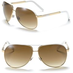 Gucci Aviator Gold/White Sunglasses with Top Bar ($325) ❤ liked on Polyvore