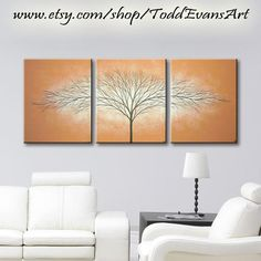48 inches, 3 piece Wall art set, Terra Cotta Brown Paintings, Large wall decor Canvas Trees, set of 3 art, Tree painting original by ToddEvansArt, $90.00