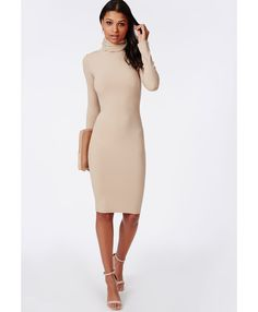 Ribbed Roll Neck Long Sleeve Bodycon Dress Camel - Dresses - Bodycon Dresses - Missguided