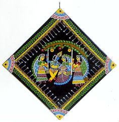 Radha Krishna on a Swing - Wall Hanging (Madhubani Folk Art on Hardboard)) Simple Canvas Paintings, Small Canvas Art, Madhubani Art, Madhubani Painting, Krishna Painting, Krishna Art, Art Room Doors, Coaster Art, Fabric Painting