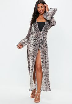 d91f1ce7f02a54 Missguided - Snake Print Kimono Cover Up Snake Print Dress, Beachwear For  Women, Missguided