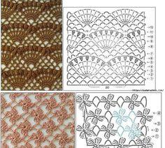Pontos Crochê     {fonte pinterest} Free Knitting, Knitting Patterns, Quilts, Blanket, Crochet, Bikini, Tips, Bikini Swimsuit, Knit Patterns