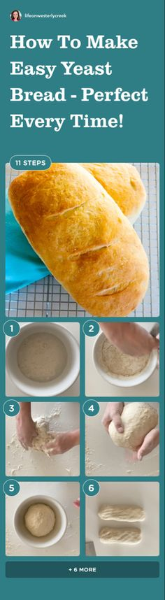 This recipe is super simple, it just takes a little time, a little elbow greese, and you will have two perfect loafs of bread - Promise! Easy Family Meals, Easy Meals, Easy Recipes, Yeast Bread Recipes, Make It Simple, Super Simple, Roasting Pan, How To Make Bread, Bread Baking