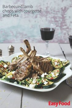 Barbecued lam chops with courgette & Feta #barbecue #zucchini #BBQ #lamb #summer