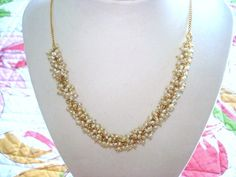 Pearl Necklace Vintage Jewelry Gold Tone  16 by sanibelsands, $44.99