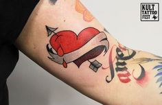 red heart oldschool tattoo