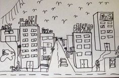 1-point perspective city (and a powerpoint presentation on  how to teach this)