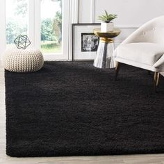 Area Rugs For Sale, Rug Sale, Room Rugs, Rugs In Living Room, Black Carpet Living Room, Black Shag Rug, Black Rugs, Solid Rugs, Ber