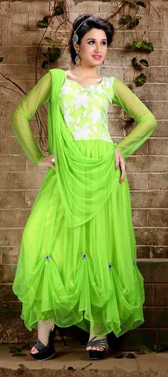 406403: #Pleats #neon #anarkali #Indian