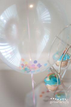 Confetti inside of clear balloons - so pretty!