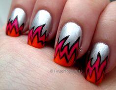 Neon Cartoon Flames by FingerFood    #nail #nails #nailart