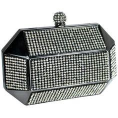 Divine Rhinestone Studded Spherical Top Clasp Rectangle Hard Case Minaudiere Clutch Evening Bag Baguette Handbag Purse w/2 Chain Straps