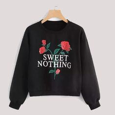 To find out about the Letter And Flower Graphic Sweatshirt at SHEIN, part of our latest Sweatshirts ready to shop online today! Mode Outfits, Fashion Outfits, Fashion Fashion, Fashion Ideas, Vintage Fashion, Zeina, Sweet Nothings, Printed Sweatshirts, Hoodies