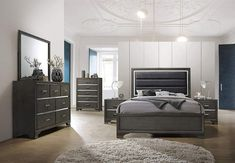 Kings Brand Furniture – Gray Wood with Faux Leather Headboard King Bedroom Set. Bed, Dresser, Mirror, Chest, 2 Night Stands Visit the image link more details. (This is an affiliate link) King Size Bedroom Sets, 5 Piece Bedroom Set, Queen Bedroom, Leather Headboard, King Headboard, Tall Headboard, Headboard Ideas, Bedroom Furniture Sets, Home Furniture