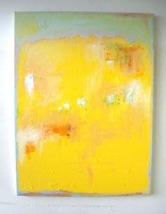 Yellow Abstract Painting Original acrylic on canvas-Rothko- Minimalist- Large 18x24- by Vesna Antic. $139.00, via Etsy.