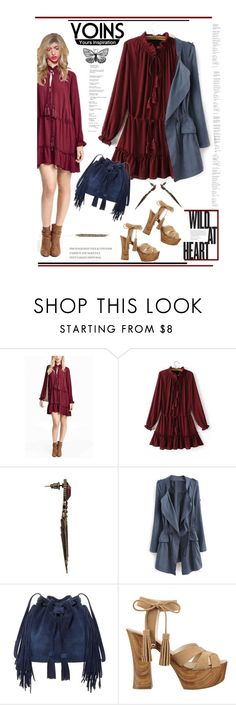 """""""Ruffles and Suede'"""" by dianefantasy ❤ liked on Polyvore featuring BCBGMAXAZRIA, GUESS, polyvoreeditorial and yoins"""