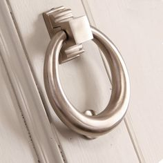 Satin Nickel Hoop Door Knocker. A ring knocker looks fantastic on period front doors or contemporary doors too. Also available in other superb quality finishes. https://www.willowandstone.co.uk/front-door-furniture/satin-nickel-hoop-door-knocker.php