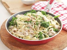 A barbecued chicken turns into an Italian delight with this creamy fettuccini dish.