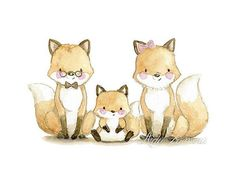 Nursery Art FAMILY FOX Art Print, Nursery Illustration. A very adorable family! Its a reproduction of my original illustration printed with detailed on special watercolor paper 200 g. honed natural white, acid-free and 100% cellulose, gives appearance of original painting. Watermark will
