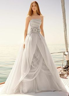 This grey dress is gorgeous! Don't fall off that boat.