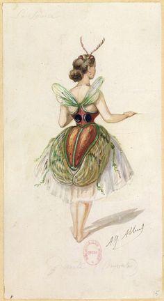 Alphonse Mucha, Vintage Fairies, Vintage Art, Costume Papillon, Ballerine Vintage, Costume Design Sketch, Vintage Postcards, Holiday Postcards, Halloween Disfraces