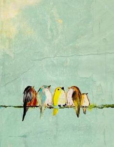 Chubby artsy hipster birdies. On a wire. I shall call them all Goldie Hawn.