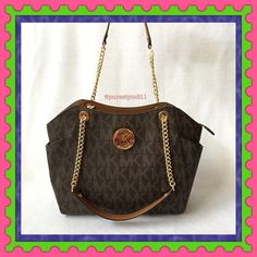 """Authentic Michael Kors Logo Chain Handbag % AUTHENTIC✨ Beautiful large logo shoulder chain handbag from Michael Kors. Color: Brown  Approximate measurements: Length 14"""" Height 10 1/2"""" Width 4"""" Strap drop 10"""" Zipper top closure. Exterior side compartments. 5 interior pockets. Yellow gold tone hardware! STUNNING! NO TRADE  PRICE IS FIRM ‼️ Michael Kors Bags Totes"""