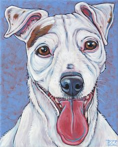 """Daisy the Russell Terrier Pet Portrait Painting in Acrylic Paint on 12"""" x 12""""…"""
