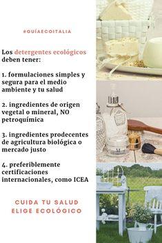 #guíaecoitalia cómo reconocer detergentes ecológicos. Cuida tu salud, ¡elige ecológico! Chile, Zero Waste, Circular Economy, Environment, Agriculture, Recycling, Products, Health, Chili
