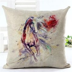 Artistic Horse Printed Cushion