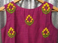 Hand-crafted kurtas DM or watsapp for orders. Embroidery On Kurtis, Hand Embroidery Dress, Kurti Embroidery Design, Embroidery Suits, Hand Embroidery Patterns, Ribbon Embroidery, Floral Embroidery, Simple Hand Embroidery Designs, Creative Embroidery