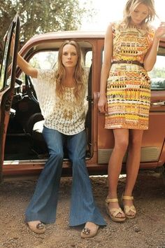 Left: early 70's casual hippy wear ( accompanied by long, straight flowing hair for both males and females) and a form fitting shift type dress featuring a orange/yellow busy pattern.