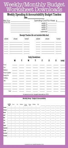 Free Printable Monthly Budget Chart *Get More Frugal Articles