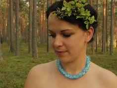 Beaded frozen necklace Unique design Bold necklace by SalixCinerea