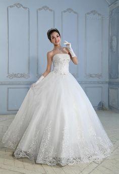 BeautiflストラップレスAラインレースの床の長さのウェディングドレス 10522492 - レース ウェディングドレス - Dresswe.Com