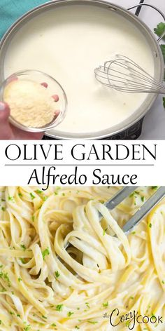 Make Olive Garden's Alfredo Sauce Recipe at home in just 20 minutes! Pair it with Fettuccine for an easy dinner idea the whole family will love! dinner on a budget Olive Garden's Alfredo Sauce Pasta Carbonara Receta, Pasta Alfredo Receta, Molho Alfredo, Sauce Alfredo, Fettuccine Pasta, Gluten Free Alfredo Sauce, Olive Garden Fettuccine Alfredo Recipe Copycat, Easy Alfredo Sauce Recipe Without Heavy Cream, Food Dinners