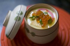 Ikura Chawanmushi, a Japanese appetizer consisting of soft, steamed egg custard that often incorporates chicken, fish, mushrooms, and sometimes shrimp