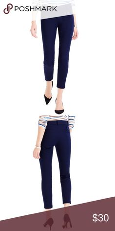 J.Crew Navy Blue Minnie City Fit Crop Ankle Pants J.Crew Minnie City Fit crop ankle pants in navy blue. Super flattering! Sleek, chic, & slim fitting. Perfect for work and also great to dress down casually. Color makes these pants very versatile. Stretchy. Side zip. No flaws or rips but it does show some wear from washing. Good used condition. J.Crew Factory Pants Ankle & Cropped