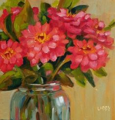 DPW Fine Art Friendly Auctions - Garden Zinnias by Libby Anderson