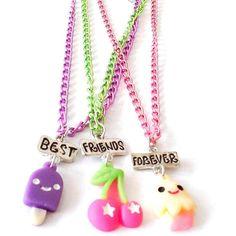 Gratis pengiriman Best Friend Forever BFF liontin link rantai kalung cepat makanan ice-cream cherry colorful 3 kalung anak perhiasan