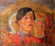Boris Grigoriev (Russian 1886–1939) [Russian Avant-Garde] Self-Portrait with a Chicken and a Rooster, 1924.