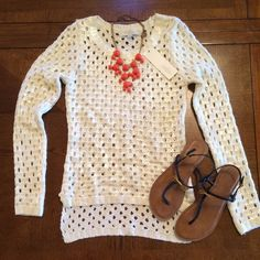 Olive and Oak Shimmer Sweater Beautiful Olive & Oak open knit sweater. White long sleeve sweater with a pretty shimmery iridescent coating! Size small. High low cut in front and back. Could fit a XS/S. Cute with a colored tank/blouse underneath or super cute as a swimsuit coverup!👙Perfect for Spring and Summer! 🌺 Use the bundle option for large discount. Olive & Oak Sweaters